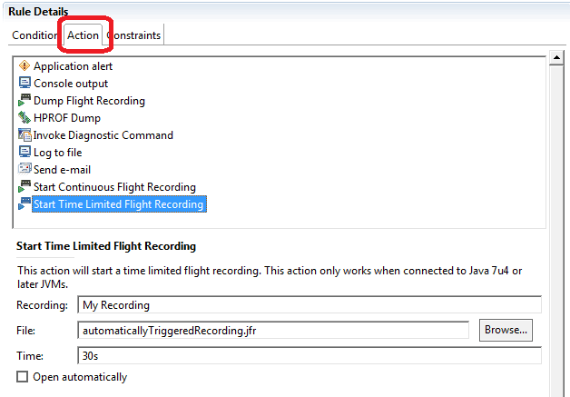 Java Mission Control Trigger Actions